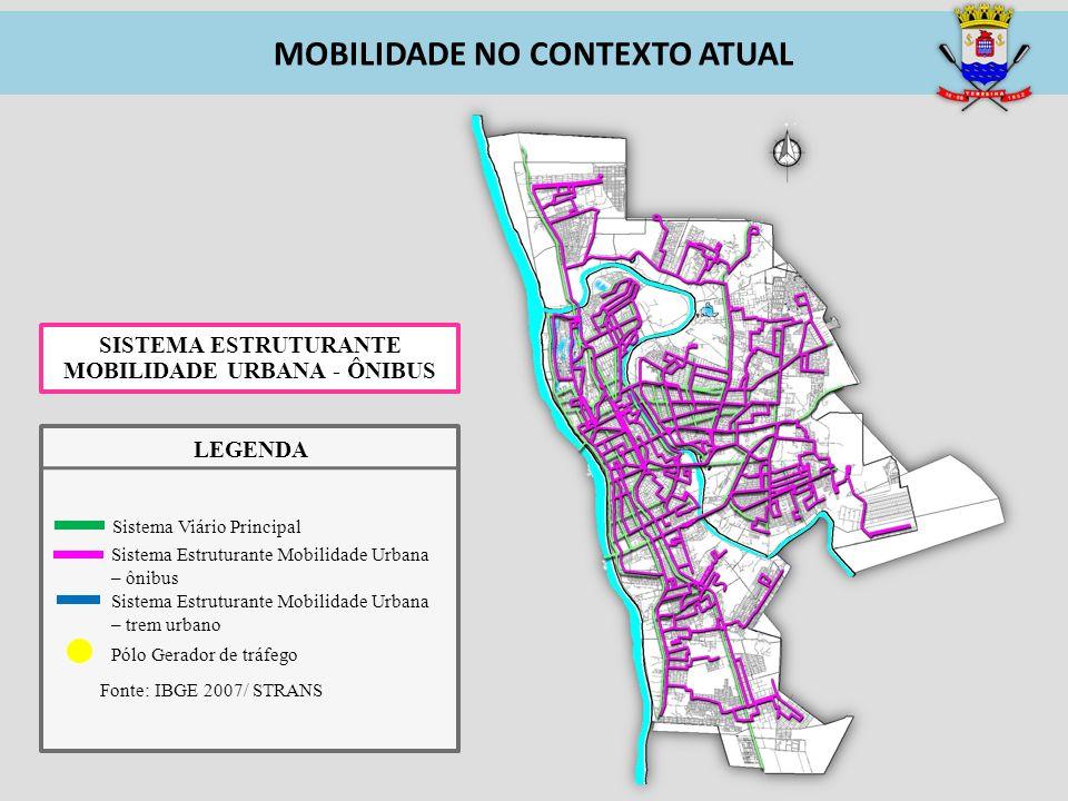 SISTEMA ESTRUTURANTE MOBILIDADE URBANA - ÔNIBUS MOBILIDADE NO CONTEXTO ATUAL Pólo Gerador de tráfego Fonte: IBGE 2007/ STRANS Sistema Estruturante Mob