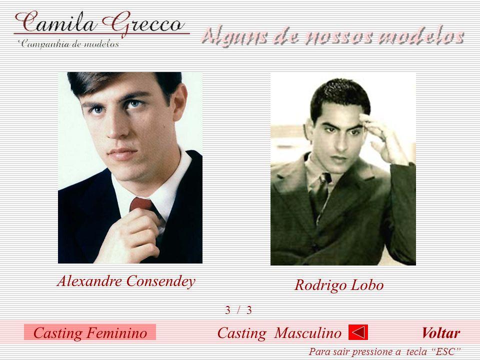 Casting Masculino 2 / 3 Henrique MoraisGabriel GreccoLeonardo Galeno Para sair pressione a tecla ESC Casting Feminino