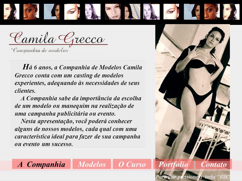 Camila Grecco tem 23 anos, é modelo e manequim desde os 16 anos. Fez parte de grandes agências de modelo, inclusive Ford e Mega. É formada em ballet,