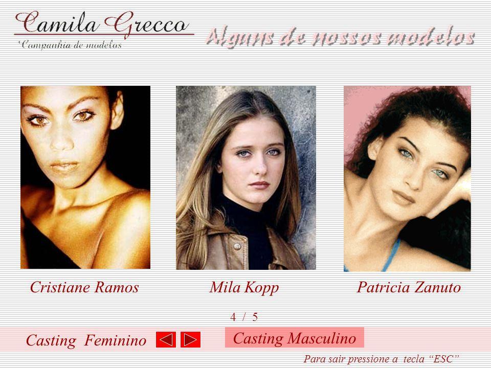 Casting Feminino 3 / 5 Patrícia Von PinhoVivian Braga Livia Feria Para sair pressione a tecla ESC Casting Masculino