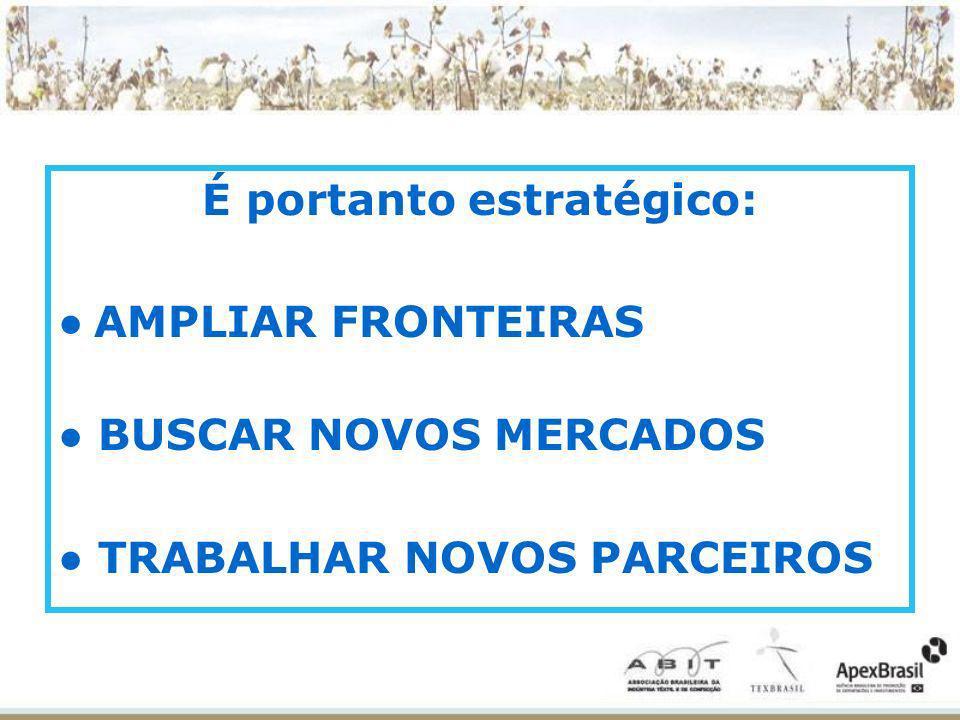 É portanto estratégico: AMPLIAR FRONTEIRAS BUSCAR NOVOS MERCADOS TRABALHAR NOVOS PARCEIROS