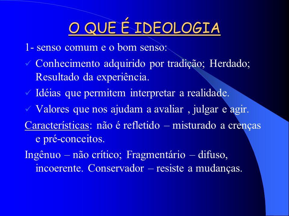 O QUE É IDEOLOGIA 1- senso comum e o bom senso: Conhecimento adquirido por tradição; Herdado; Resultado da experiência.