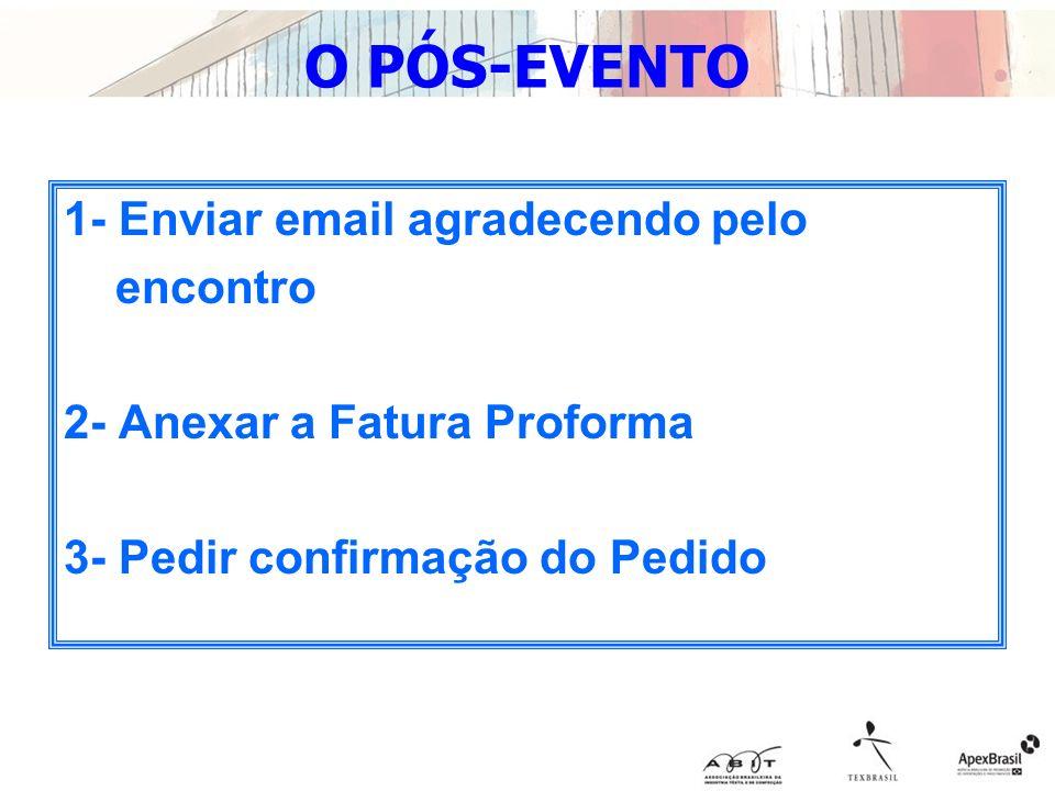O PÓS-EVENTO 1- Enviar email agradecendo pelo encontro 2- Anexar a Fatura Proforma 3- Pedir confirmação do Pedido