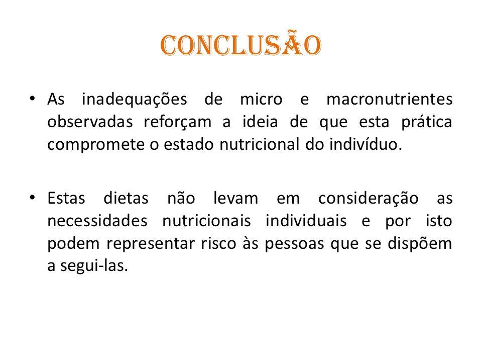CONCLUSÃO As inadequações de micro e macronutrientes observadas reforçam a ideia de que esta prática compromete o estado nutricional do indivíduo.