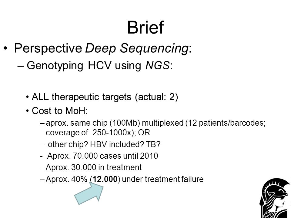 Brief Perspective Deep Sequencing: –Genotyping HCV using NGS: ALL therapeutic targets (actual: 2) Cost to MoH: –aprox. same chip (100Mb) multiplexed (