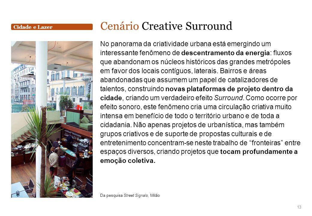 Cidade e Lazer Cenário Creative Surround No panorama da criatividade urbana está emergindo um interessante fenômeno de descentramento da energia: flux