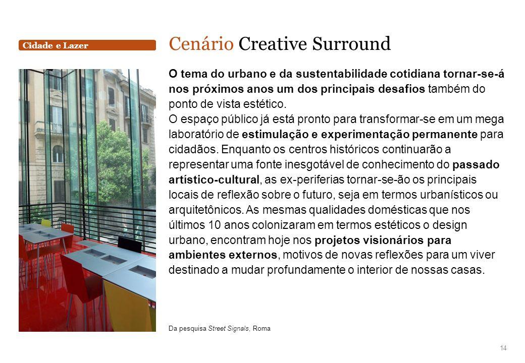 Cidade e Lazer Cenário Creative Surround O tema do urbano e da sustentabilidade cotidiana tornar-se-á nos próximos anos um dos principais desafios tam