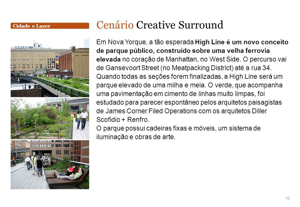Cidade e Lazer Cenário Creative Surround Em Nova Yorque, a tão esperada High Line é um novo conceito de parque público, construído sobre uma velha fer