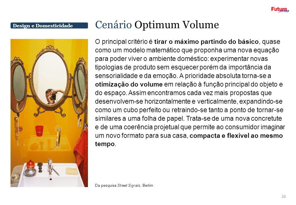 Design e Domesticidade Cenário Optimum Volume O principal critério é tirar o máximo partindo do básico, quase como um modelo matemático que proponha u