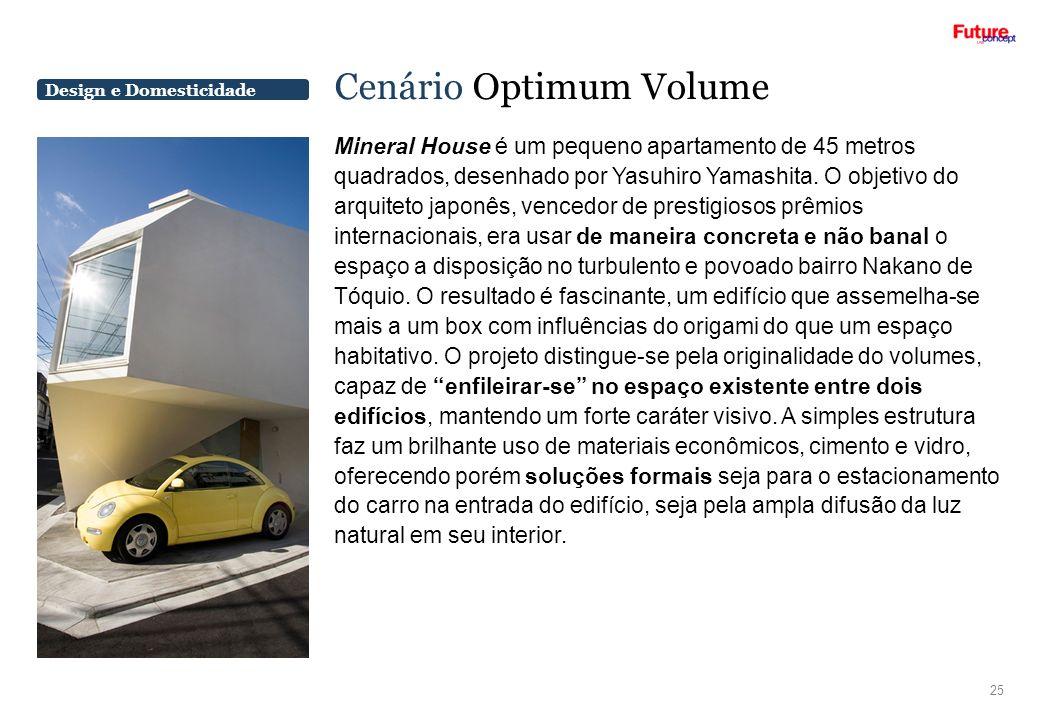Design e Domesticidade Cenário Optimum Volume Mineral House é um pequeno apartamento de 45 metros quadrados, desenhado por Yasuhiro Yamashita. O objet