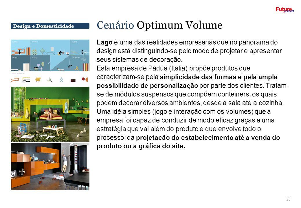 Design e Domesticidade Cenário Optimum Volume Lago è uma das realidades empresarias que no panorama do design está distinguindo-se pelo modo de projet