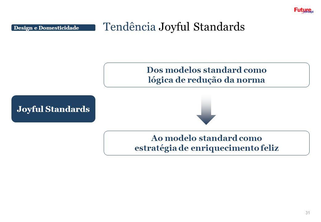 Design e Domesticidade Tendência Joyful Standards 31 Joyful Standards Dos modelos standard como lógica de redução da norma Ao modelo standard como est
