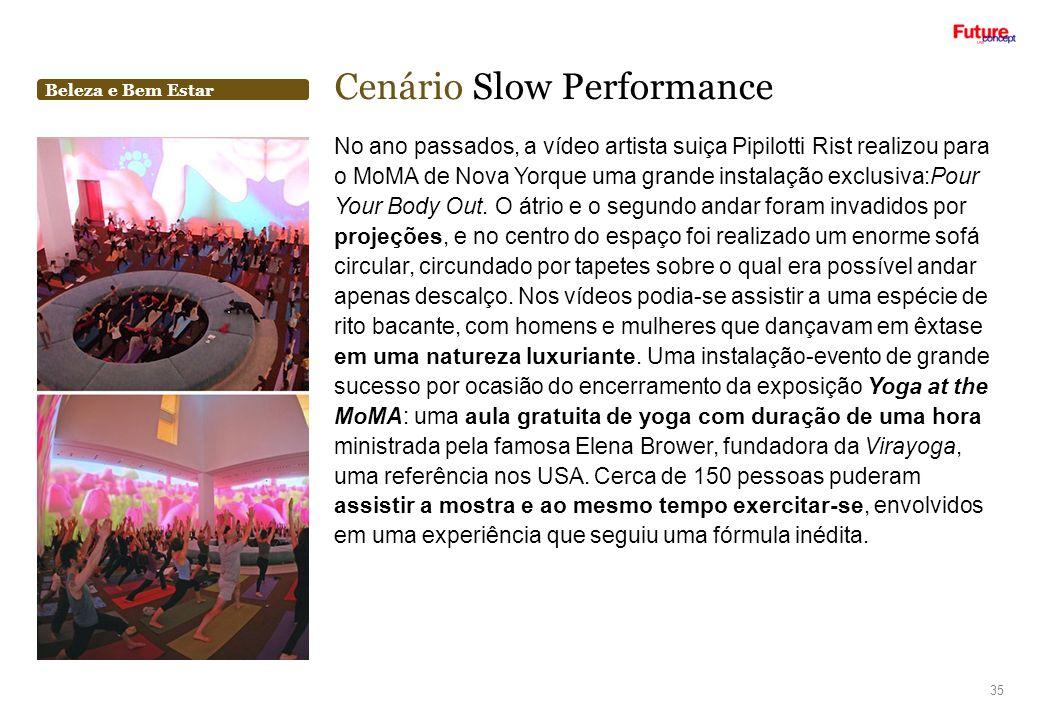 Beleza e Bem Estar Cenário Slow Performance 35 No ano passados, a vídeo artista suiça Pipilotti Rist realizou para o MoMA de Nova Yorque uma grande in