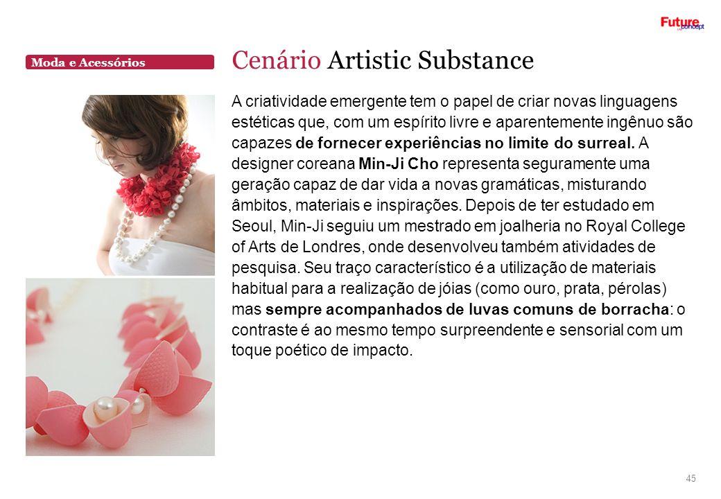 Moda e Acessórios Cenário Artistic Substance 45 A criatividade emergente tem o papel de criar novas linguagens estéticas que, com um espírito livre e