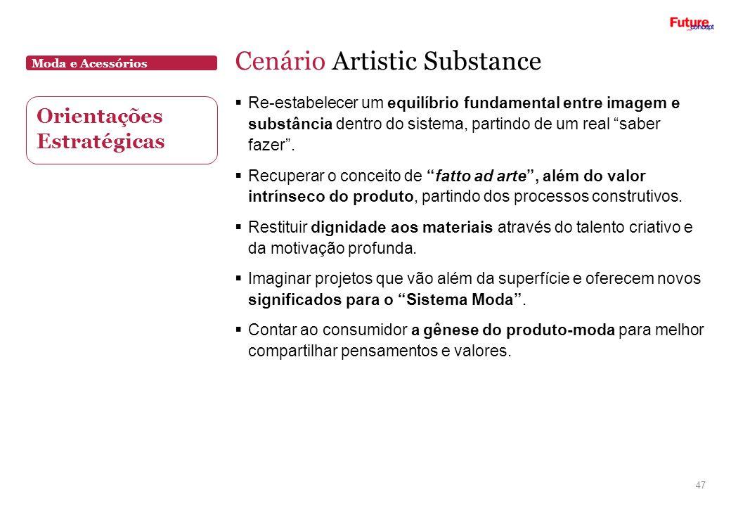 Moda e Acessórios Cenário Artistic Substance 47 Re-estabelecer um equilíbrio fundamental entre imagem e substância dentro do sistema, partindo de um r