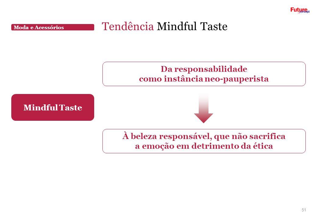 Moda e Acessórios Tendência Mindful Taste 51 Mindful Taste Da responsabilidade como instância neo-pauperista À beleza responsável, que não sacrifica a