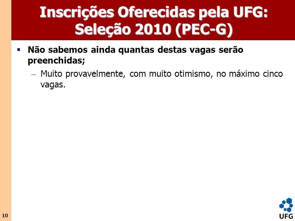 10 Inscrições Oferecidas pela UFG: Seleção 2010 (PEC-G) Não sabemos ainda quantas destas vagas serão preenchidas; – Muito provavelmente, com muito oti