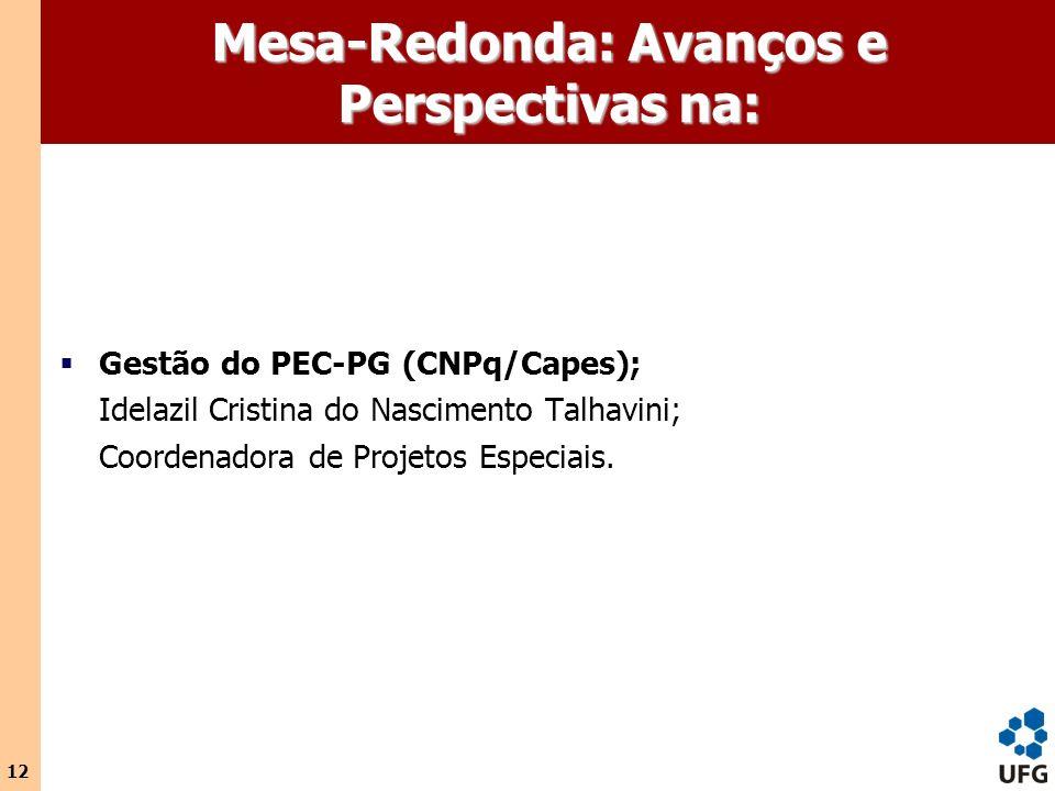 12 Mesa-Redonda: Avanços e Perspectivas na: Gestão do PEC-PG (CNPq/Capes); Idelazil Cristina do Nascimento Talhavini; Coordenadora de Projetos Especia