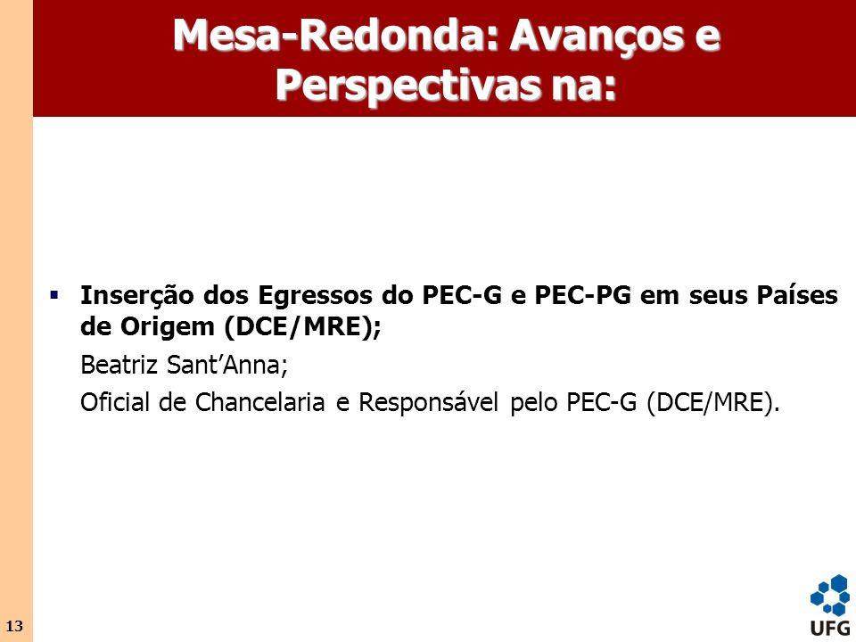 13 Mesa-Redonda: Avanços e Perspectivas na: Inserção dos Egressos do PEC-G e PEC-PG em seus Países de Origem (DCE/MRE); Beatriz SantAnna; Oficial de C