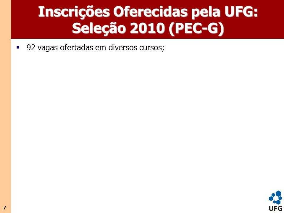 7 Inscrições Oferecidas pela UFG: Seleção 2010 (PEC-G) 92 vagas ofertadas em diversos cursos;