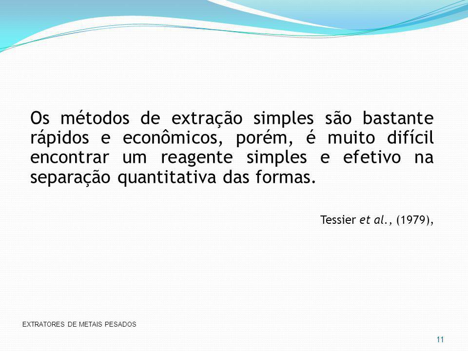 Os métodos de extração simples são bastante rápidos e econômicos, porém, é muito difícil encontrar um reagente simples e efetivo na separação quantita