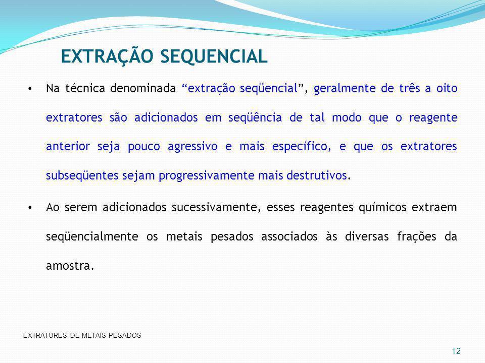 EXTRAÇÃO SEQUENCIAL 12 Na técnica denominada extração seqüencial, geralmente de três a oito extratores são adicionados em seqüência de tal modo que o