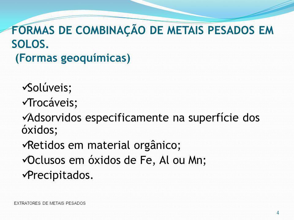 FORMAS DE COMBINAÇÃO DE METAIS PESADOS EM SOLOS. (Formas geoquímicas) 4 Solúveis; Trocáveis; Adsorvidos especificamente na superfície dos óxidos; Reti