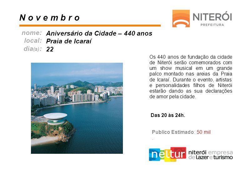 Os 440 anos de fundação da cidade de Niterói serão comemorados com um show musical em um grande palco montado nas areias da Praia de Icaraí. Durante o