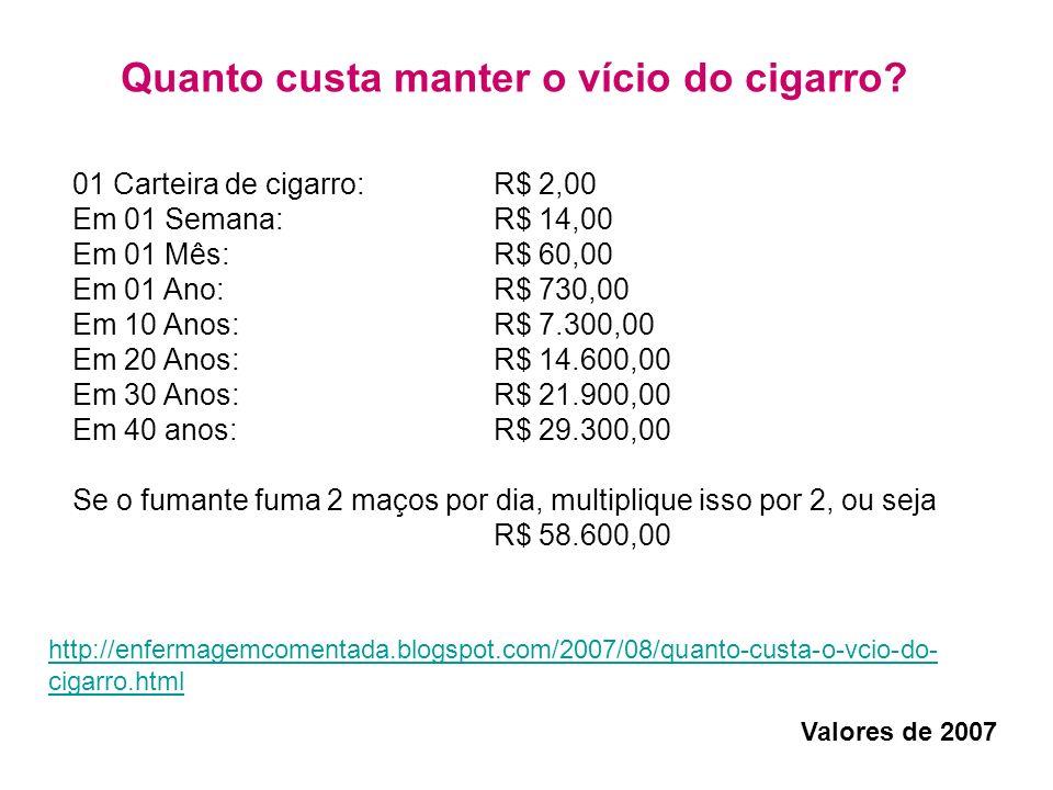 01 Carteira de cigarro: R$ 2,00 Em 01 Semana: R$ 14,00 Em 01 Mês: R$ 60,00 Em 01 Ano: R$ 730,00 Em 10 Anos: R$ 7.300,00 Em 20 Anos: R$ 14.600,00 Em 30