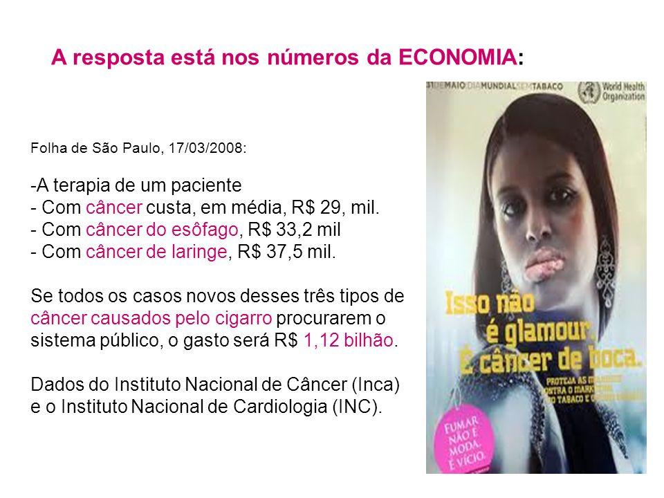 Folha de São Paulo, 17/03/2008: -A terapia de um paciente - Com câncer custa, em média, R$ 29, mil. - Com câncer do esôfago, R$ 33,2 mil - Com câncer