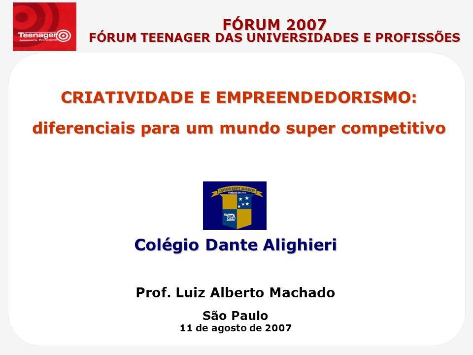 CRIATIVIDADE E EMPREENDEDORISMO: diferenciais para um mundo super competitivo Prof. Luiz Alberto Machado São Paulo 11 de agosto de 2007 FÓRUM 2007 FÓR