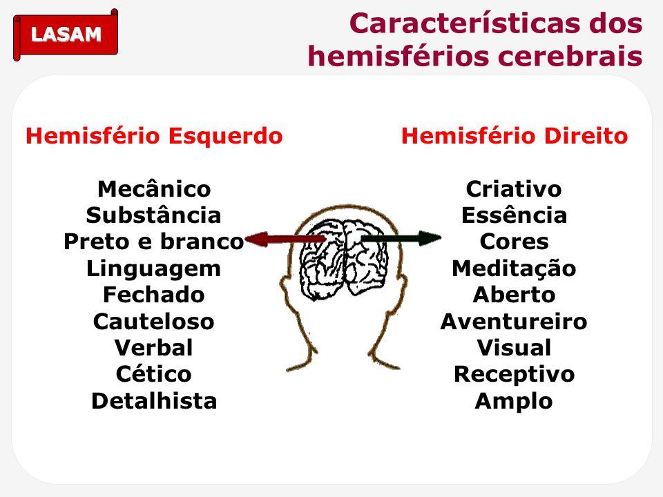 LASAM Características dos hemisférios cerebrais Hemisfério Esquerdo Mecânico Substância Preto e branco Linguagem Fechado Cauteloso Verbal Cético Detal