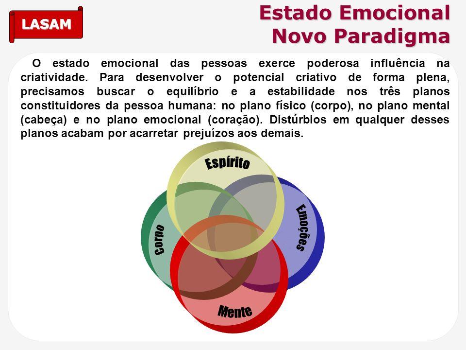 LASAM Estado Emocional Novo Paradigma O estado emocional das pessoas exerce poderosa influência na criatividade. Para desenvolver o potencial criativo