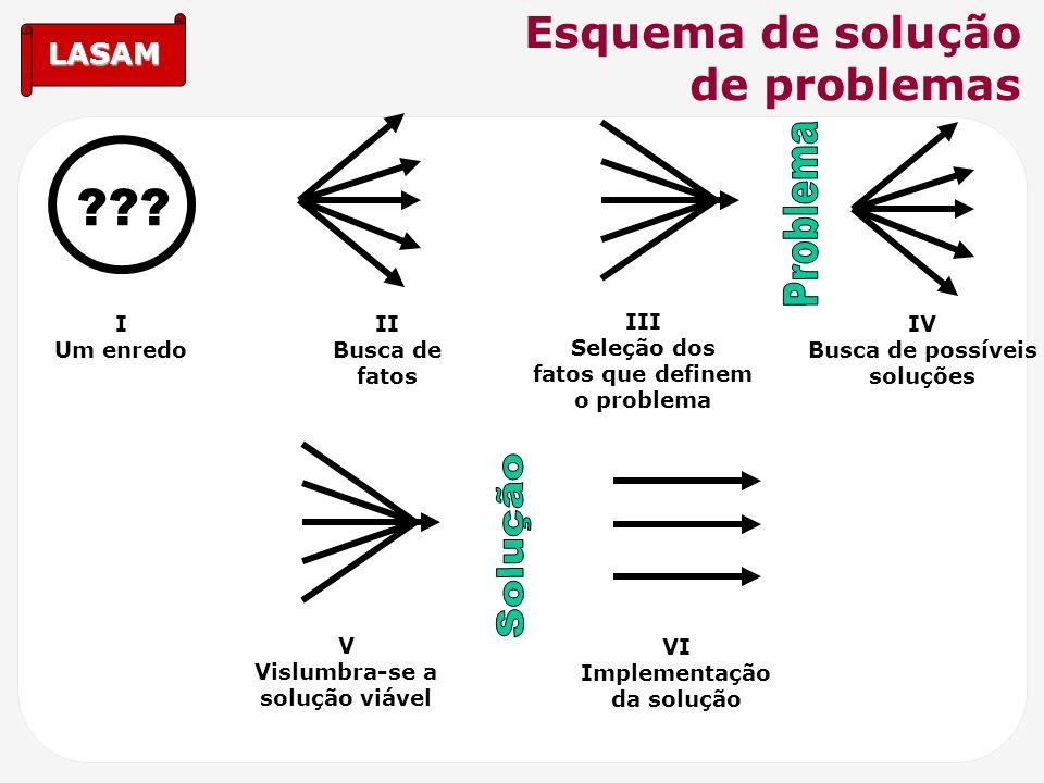 LASAM Esquema de solução de problemas ??? I Um enredo II Busca de fatos III Seleção dos fatos que definem o problema IV Busca de possíveis soluções V