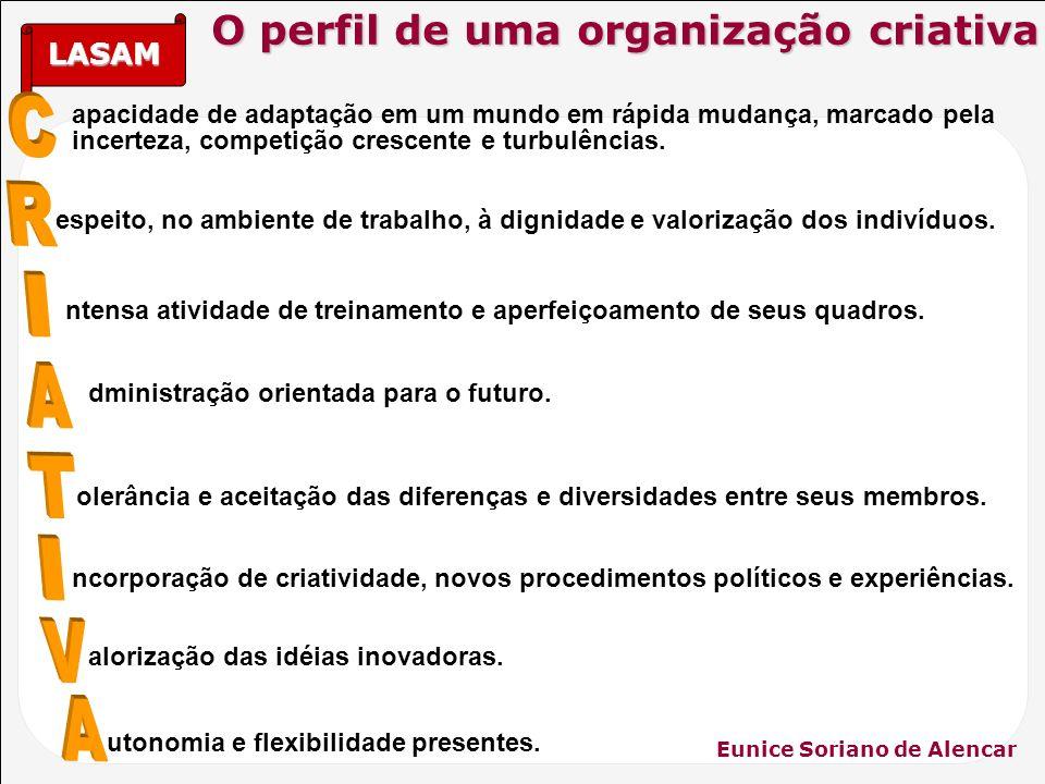 LASAM Eunice Soriano de Alencar utonomia e flexibilidade presentes. alorização das idéias inovadoras. ncorporação de criatividade, novos procedimentos