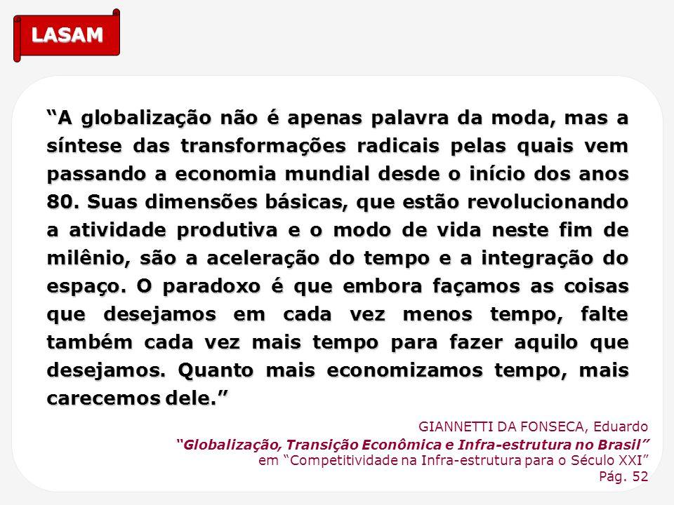 LASAM A globalização não é apenas palavra da moda, mas a síntese das transformações radicais pelas quais vem passando a economia mundial desde o iníci