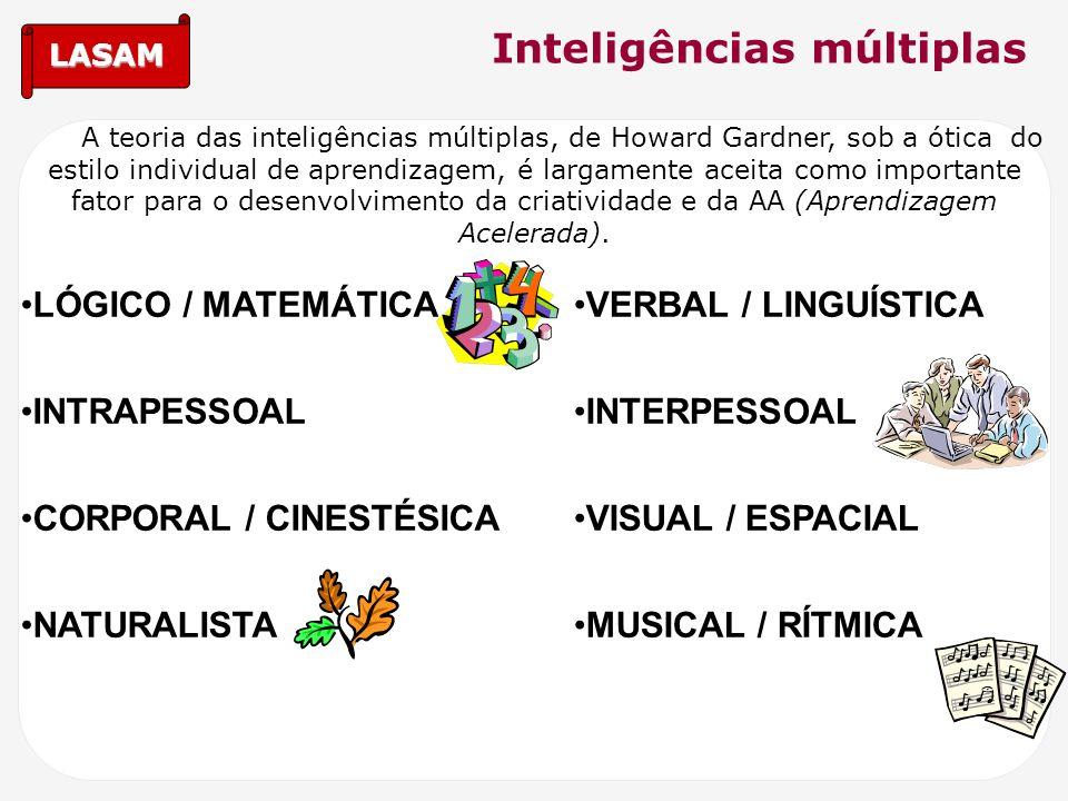 LASAM Inteligências múltiplas A teoria das inteligências múltiplas, de Howard Gardner, sob a ótica do estilo individual de aprendizagem, é largamente