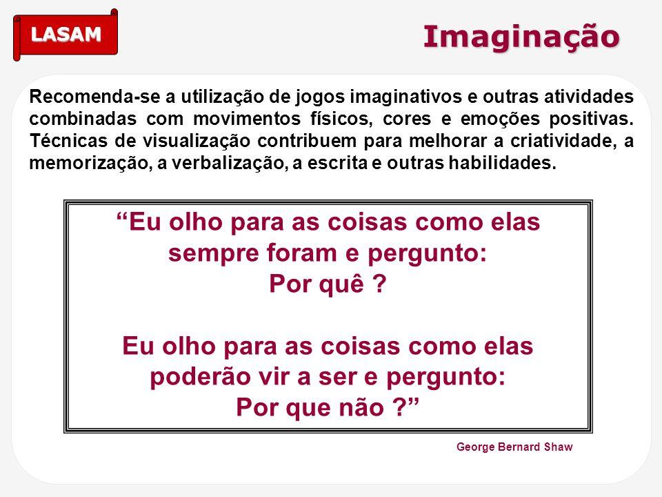 LASAM Imaginação Recomenda-se a utilização de jogos imaginativos e outras atividades combinadas com movimentos físicos, cores e emoções positivas. Téc