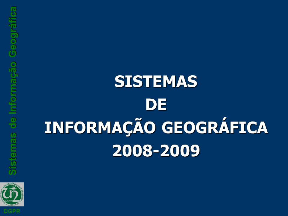 Sistemas de Informação Geográfica DGPR Atributos n Os atributos são armazenados nas tabelas e são representados por números, caracteres, imagens ou audio n Na tabela, cada registo armazena informação sobre um objecto no espaço e cada campo descreve um atributo desse objecto n A ligação dos atributos ao objectos no espaço é efectuada através de um identificador único n Este identificador é registado no ficheiro gráfico e na tabela