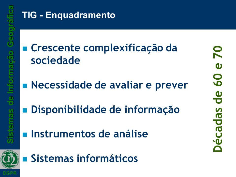 Sistemas de Informação Geográfica DGPR TIG - Enquadramento n Crescente complexificação da sociedade n Necessidade de avaliar e prever n Disponibilidad