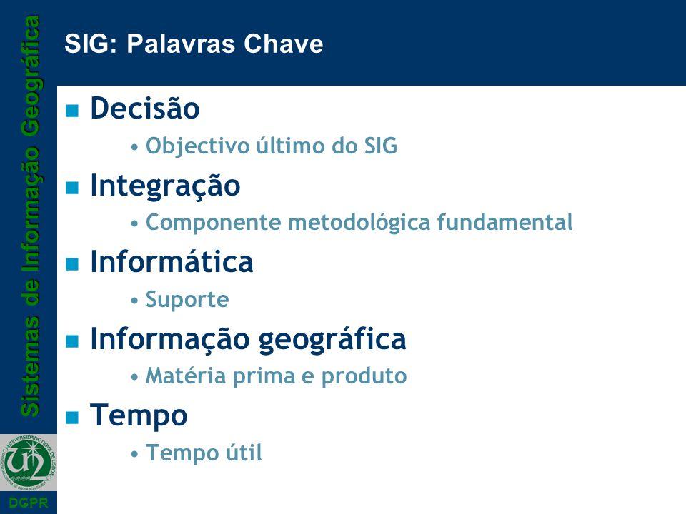 Sistemas de Informação Geográfica DGPR SIG: Palavras Chave n Decisão Objectivo último do SIG n Integração Componente metodológica fundamental n Inform