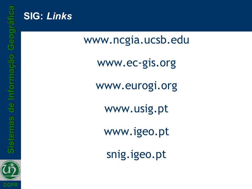 Sistemas de Informação Geográfica DGPR SIG: Links www.ncgia.ucsb.edu www.ec-gis.org www.eurogi.org www.usig.pt www.igeo.pt snig.igeo.pt