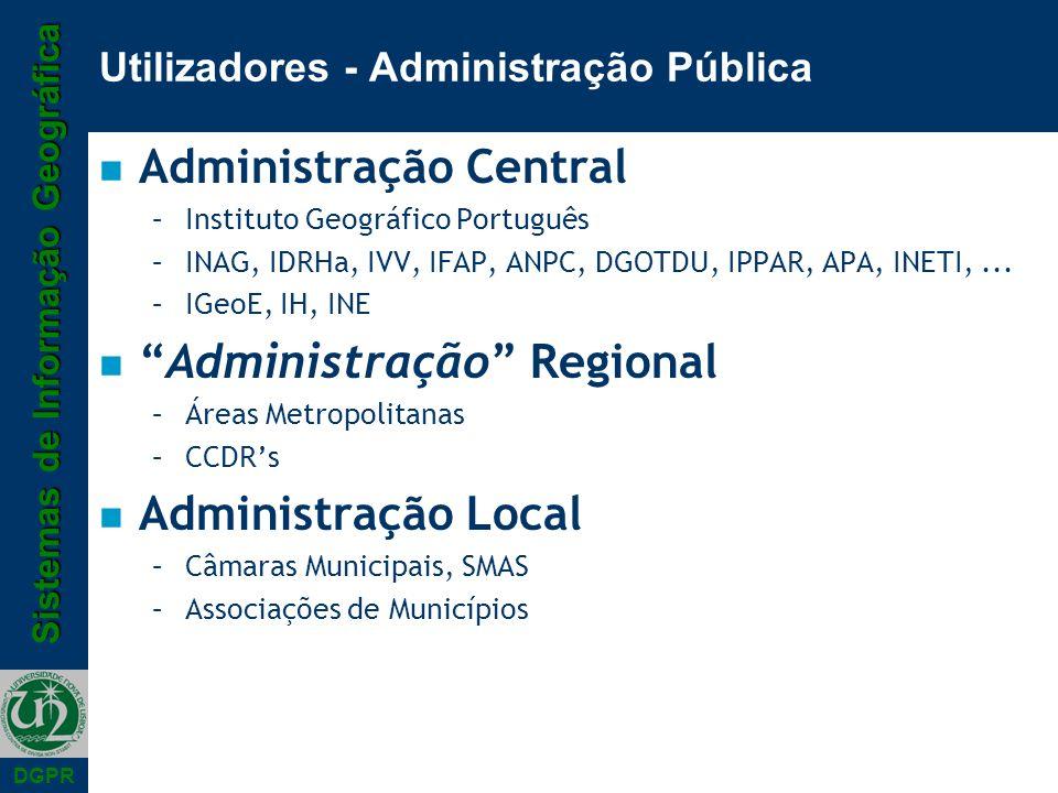 Sistemas de Informação Geográfica DGPR Utilizadores - Administração Pública n Administração Central –Instituto Geográfico Português –INAG, IDRHa, IVV,