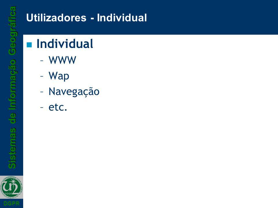 Sistemas de Informação Geográfica DGPR Utilizadores - Individual n Individual –WWW –Wap –Navegação –etc.
