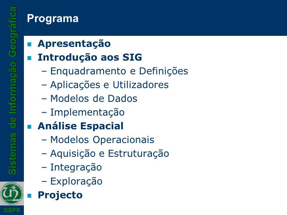Sistemas de Informação Geográfica DGPR AvaliaçãoFrequência 2009/01/20 8h 65 % Relatório Projecto (2 elementos/grupo)2009/01/23 35 % Exame2009/02/06