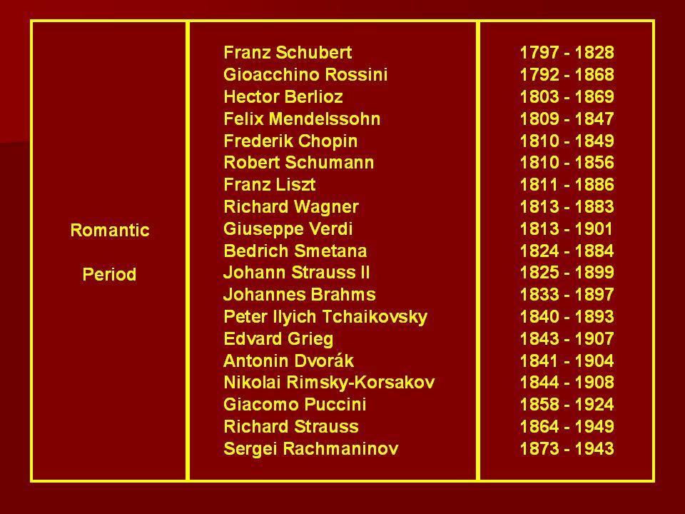 Outros grandes compositores dessa época foram Franz Schubert, Johann Strauss, Johann Strauss II, Richard Strauss, Franz Liszt, Serguei Rachmaninov, Ro