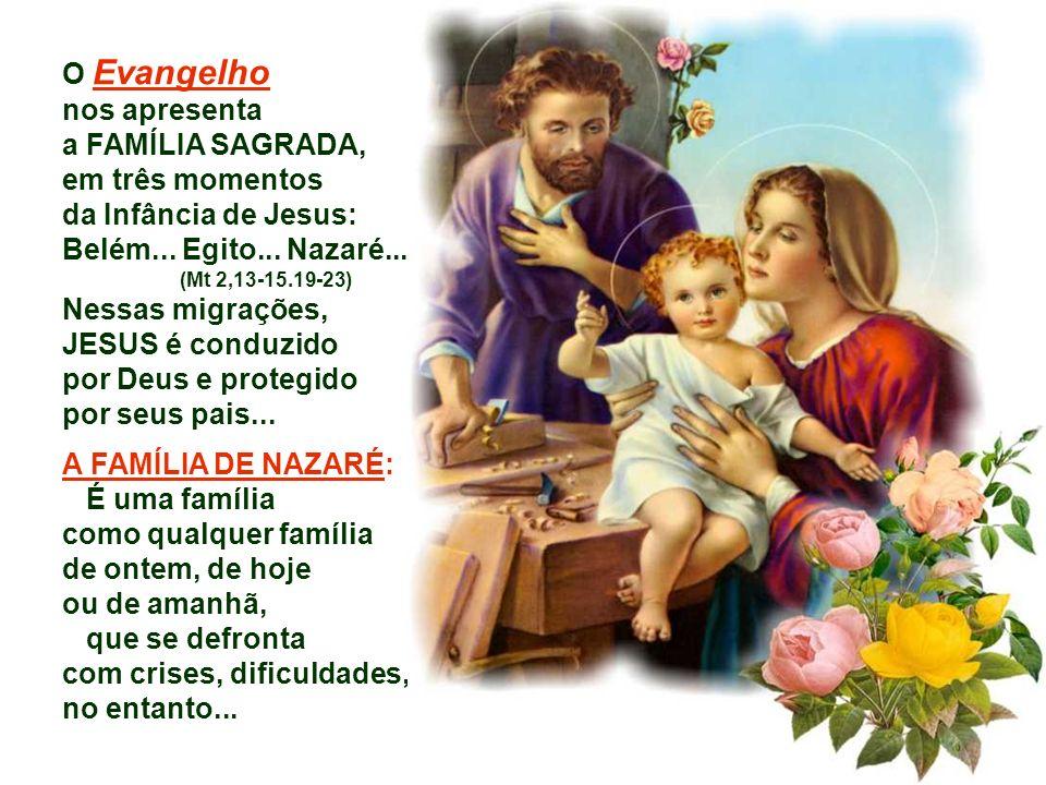 O Evangelho nos apresenta a FAMÍLIA SAGRADA, em três momentos da Infância de Jesus: Belém...