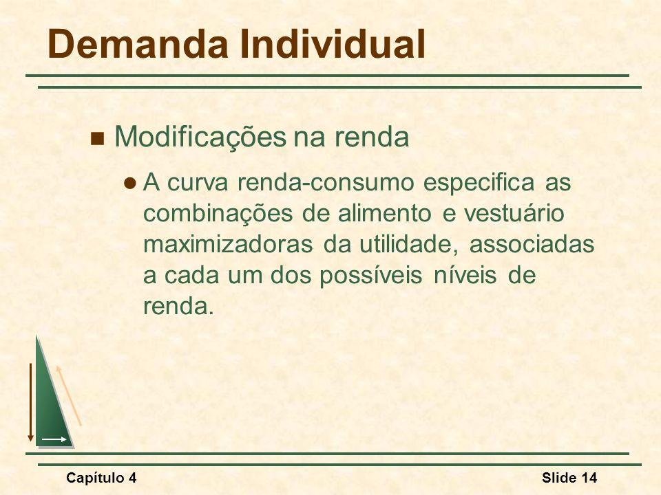 Capítulo 4Slide 14 Demanda Individual Modificações na renda A curva renda-consumo especifica as combinações de alimento e vestuário maximizadoras da utilidade, associadas a cada um dos possíveis níveis de renda.