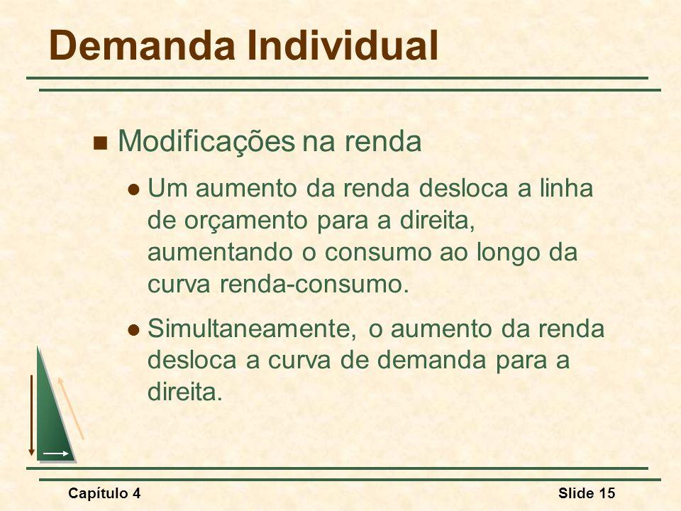Capítulo 4Slide 15 Demanda Individual Modificações na renda Um aumento da renda desloca a linha de orçamento para a direita, aumentando o consumo ao longo da curva renda-consumo.