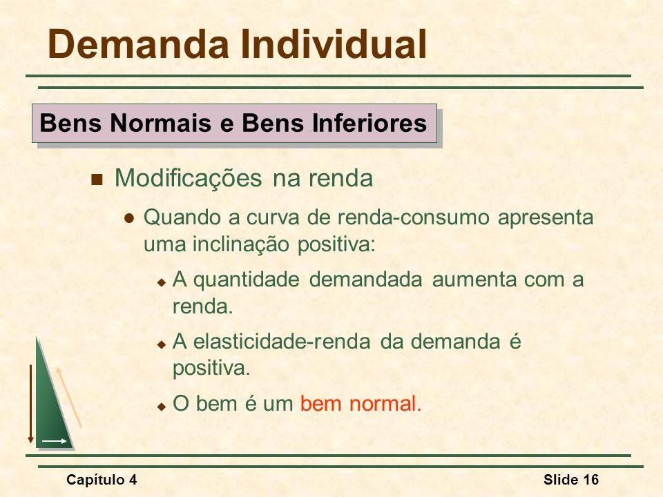 Capítulo 4Slide 16 Demanda Individual Modificações na renda Quando a curva de renda-consumo apresenta uma inclinação positiva: A quantidade demandada aumenta com a renda.